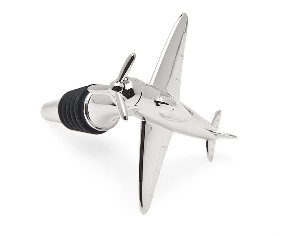 Image of a sliver airplane Wine Stopper