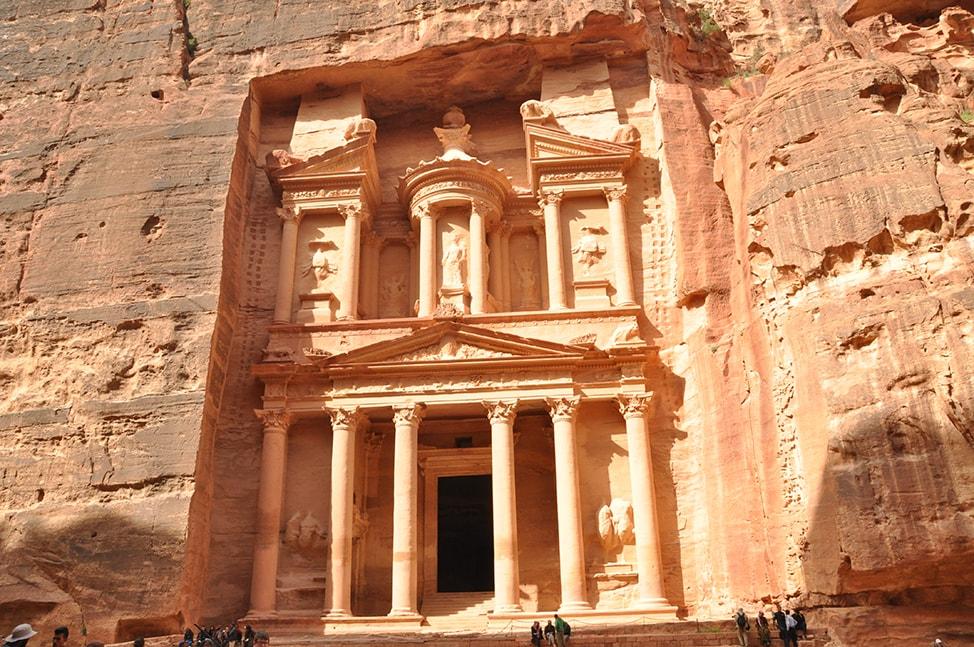Salmon colored stone walls of Petra