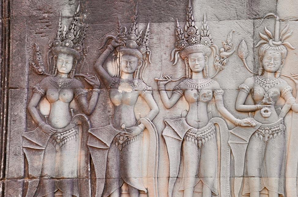 Images of Aspara dancers at Angkor Wat