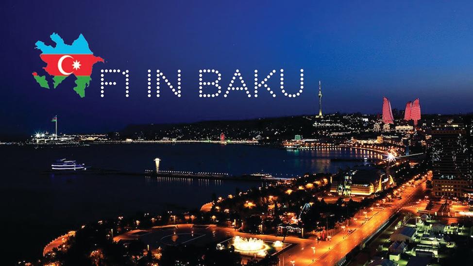 Ariel shot of the city of Baku at night