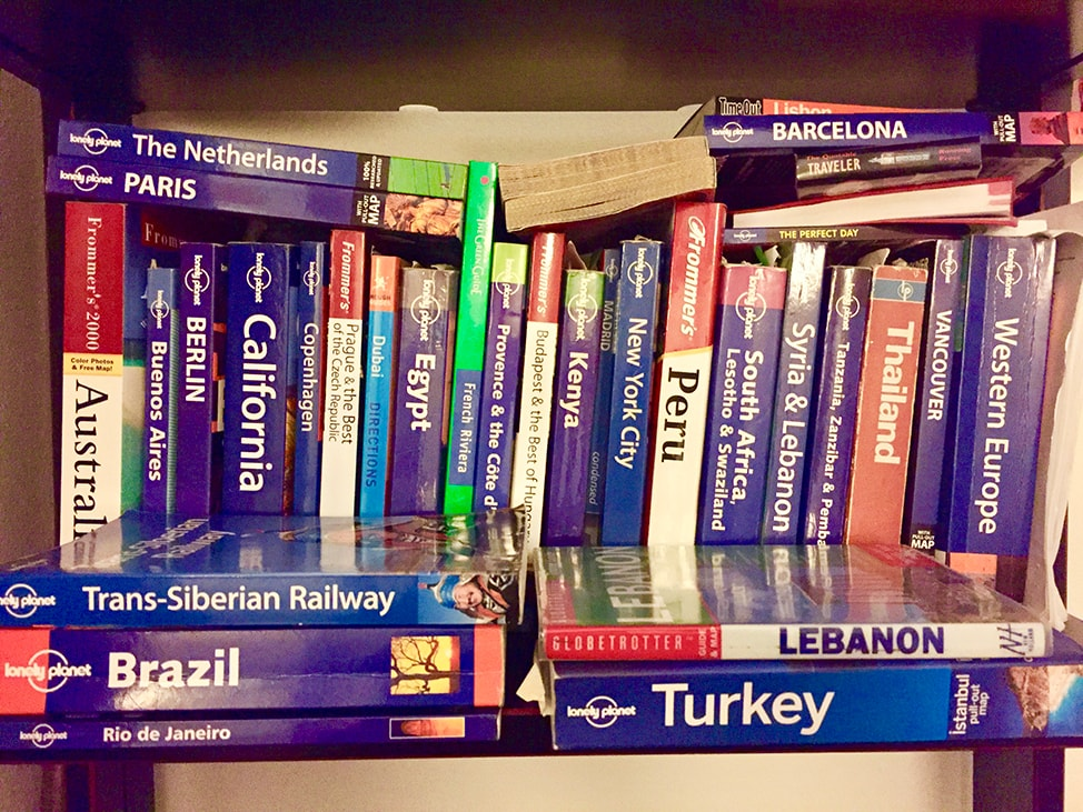 Stacks of travel guides
