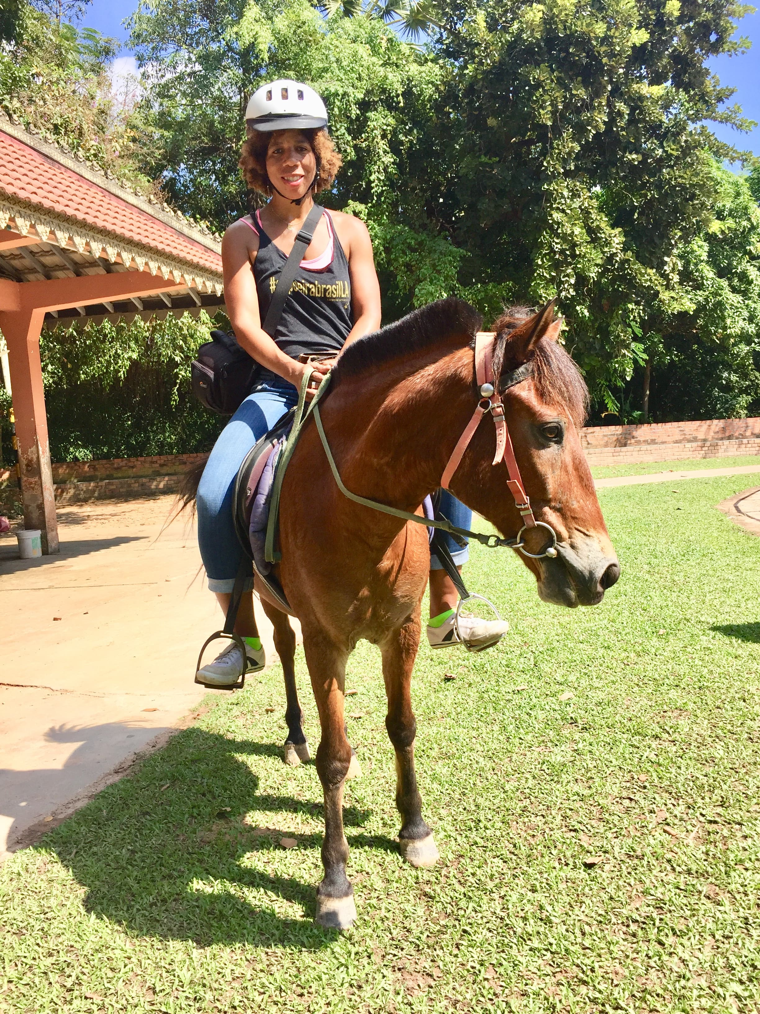 The blog's author at the end of a horseback ride in Siem Reap, Cambodia