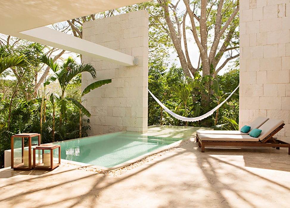 Pool and hammock at the Chablé hotel in Mexico